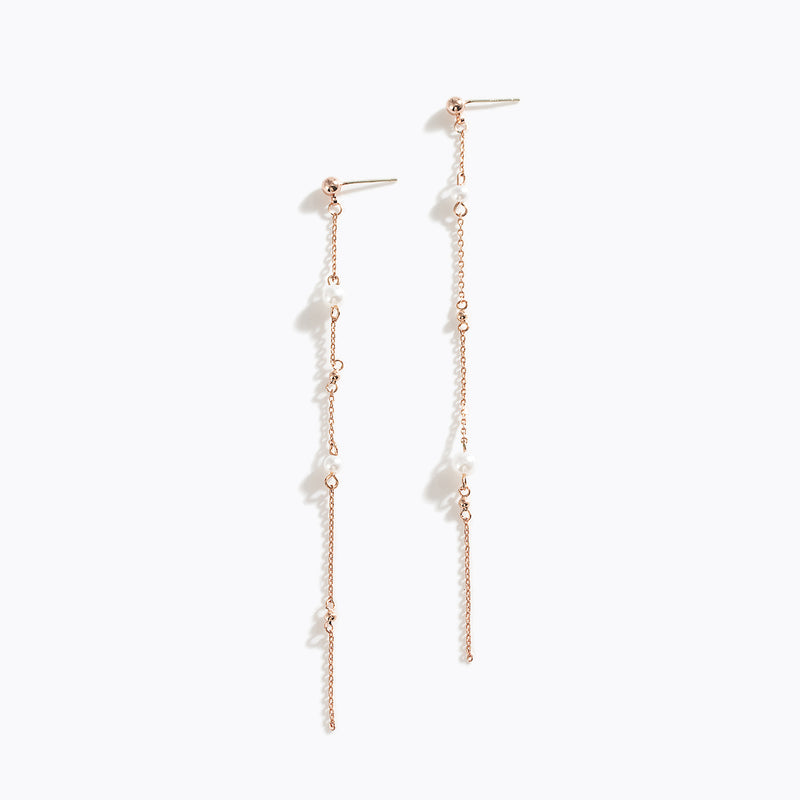 Pearl Long Drop Earrings