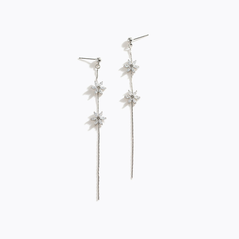 CZ Flower Long Drop Earrings