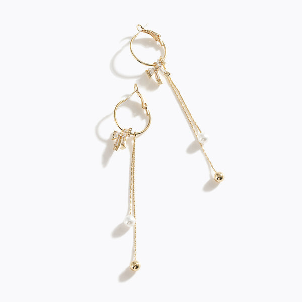 Gold-Tone Bow Stud & Pearl Drop Earrings