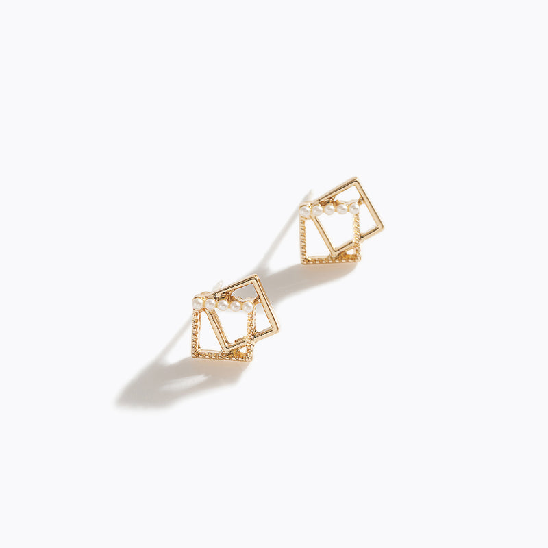 Gold-Tone Square & Pearl Earrings