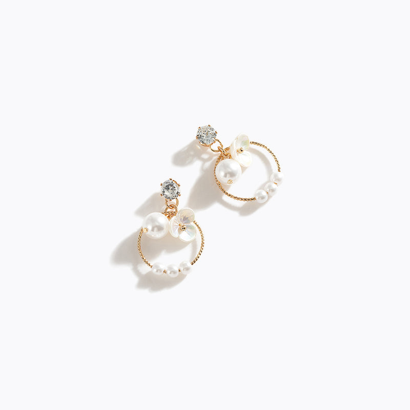Gold-Tone Chrome Flower & Pearl Drop Earrings