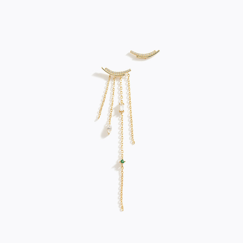 Mini CZ Bar & Tassel Asymmetry Earrings