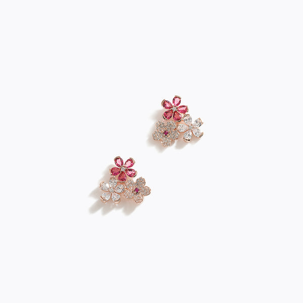 CZ Tri-Flower Earrings