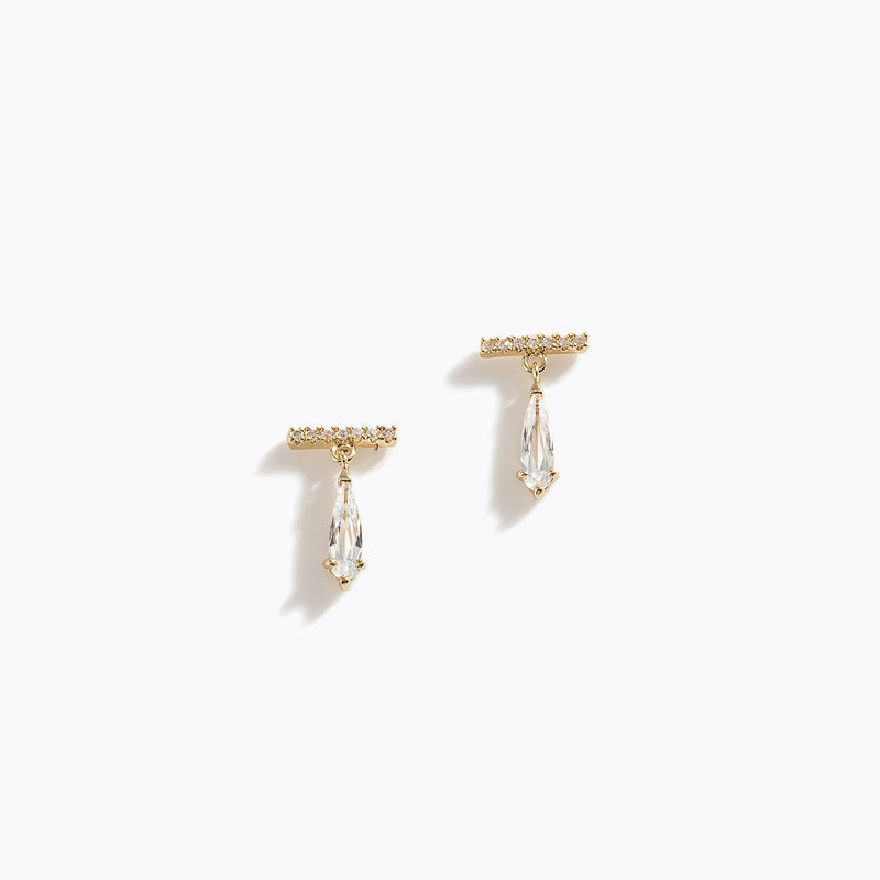 CZ Bar & Waterdrop Earring