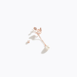 Pearl & Butterfly Asymmetry Earrings