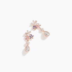 CZ Flower Waterdrop Earrings