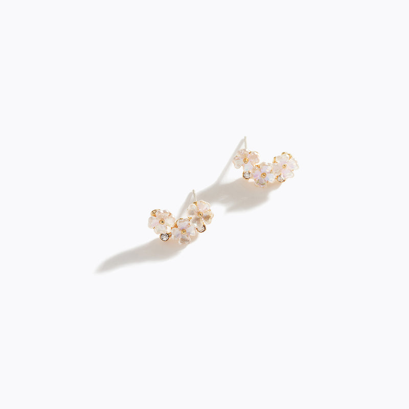 Flower & Clear CZ Curve Earrings