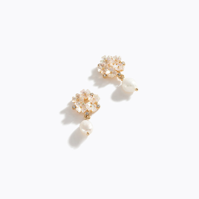 Flower & CZ Chrome Pearl Drop Earrings