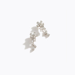 Clear CZ Flower Hanging Earrings