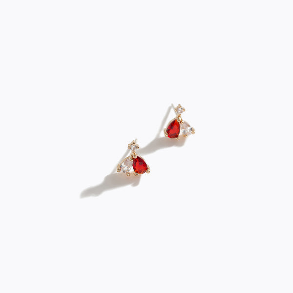 Duo Color CZ Heart Earrings