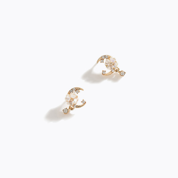 Flower & Moon Mini CZ Earrings