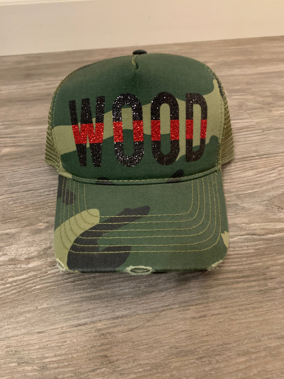 Thin Red Line Custom Name Camo Hat