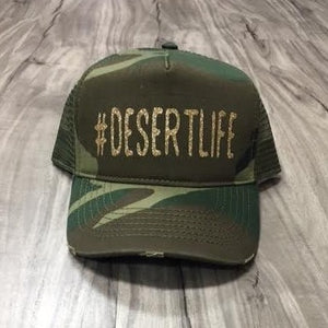 Desertlife Hashtag Glitter Trucker Distressed Camo Hat Mesh Camping Desert Riding Country Glamis Ocotillo Dunes