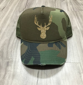 Glitter Deer Head Trucker Hat