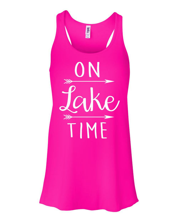 On Lake Time Tank Top Women's Flowy Tank Lake Tank Top Vacation River Vacay Racerback Shirt