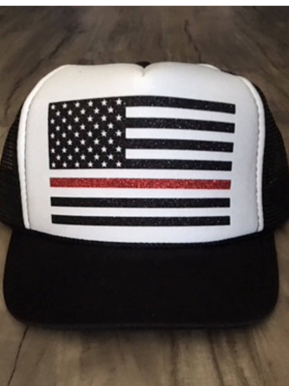 Fire American Flag Trucker Hat Firefighter Wife Firefighter Girlfriend Fire Support Women's Trucker Hat Glitter Firefighter Trucker Hats