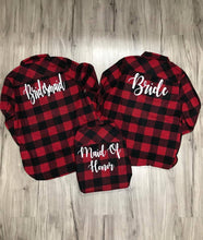 Load image into Gallery viewer, Bridal Flannels Monogram Flannels Red Black Buffalo Plaid