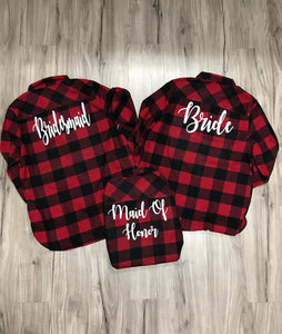 Bridal Flannels Monogram Flannels Red Black Buffalo Plaid