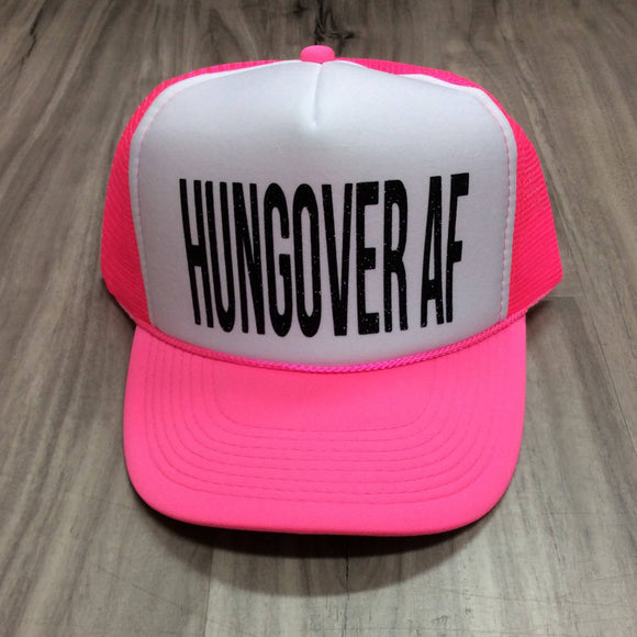 Hungover AF Trucker Hat Hungover Hat Party Hat Summer Hat Womens Trucker Hat Glitter Neon Trucker Hat