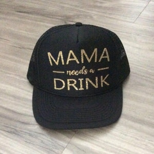 Mama Needs a Drink Trucker Hat Brunch River Lake Summer Trucker Hat Women's Trucker Hat Glitter Drinking Alcohol Party Hat