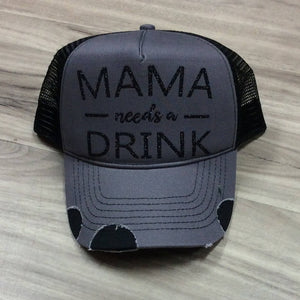 Mama Needs a Drink Trucker Distressed Hat Mesh Mom Momma River Funny Hats Truckers Lake Camping Beach