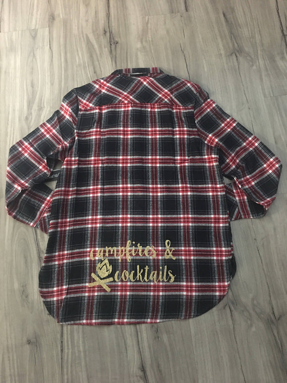 Campfires and Cocktails Flannel