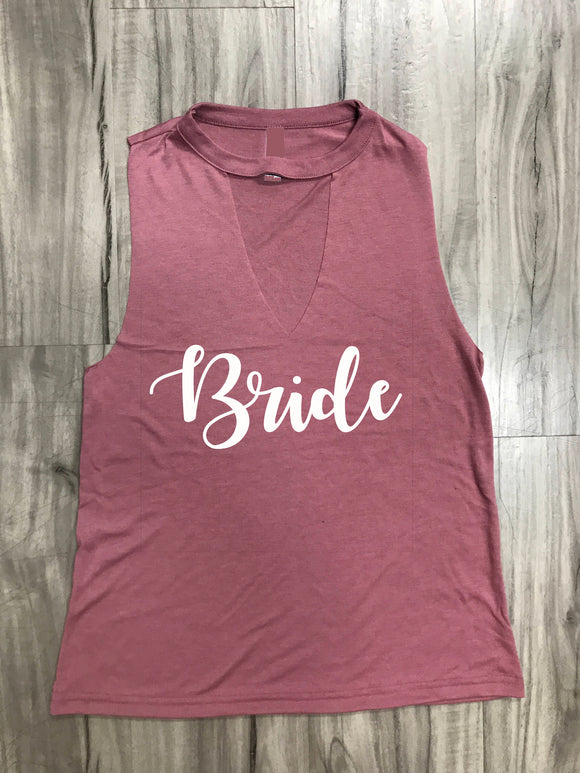 Bride Tank Muscle Cut Out Tank
