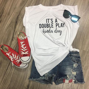 It's A Double Play Kinda Day Muscle Tank Muscle Tank with Cuffed Sleeves Women's Baseball Tank Baseball Saying Tank Baseball