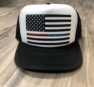 Thin Red Line Flag Thin Blue Line Flag Trucker Hat American Flag Trucker Hat Glitter Flag Hat Fourth Of July Memorial Day Trucker Hat
