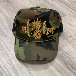 Aloha Pineapple Trucker Hat Brunch River Lake Summer Trucker Hat Women's Trucker Hat Glitter Drinking Alcohol Party Hat