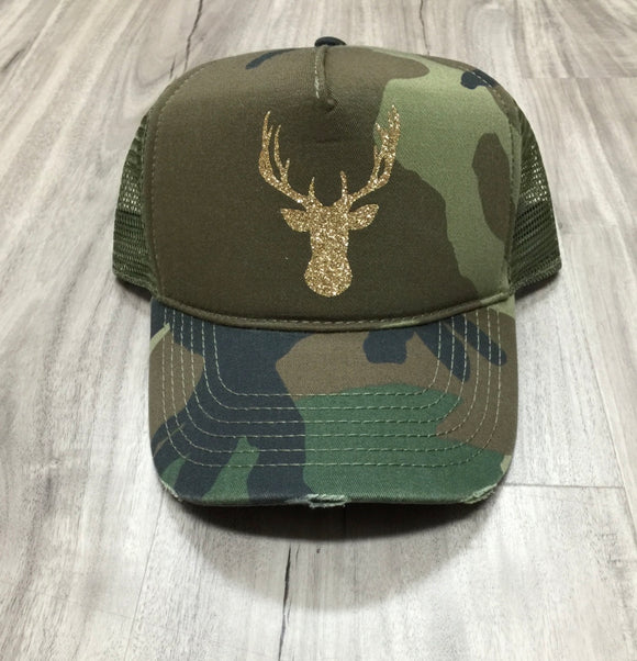 Deer Head Trucker Distressed Camo Hat