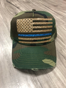 Thin Blue Line Flag Distressed Camo Trucker Hat