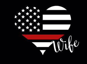 Fire Wife Thin Red Line Heart Decal
