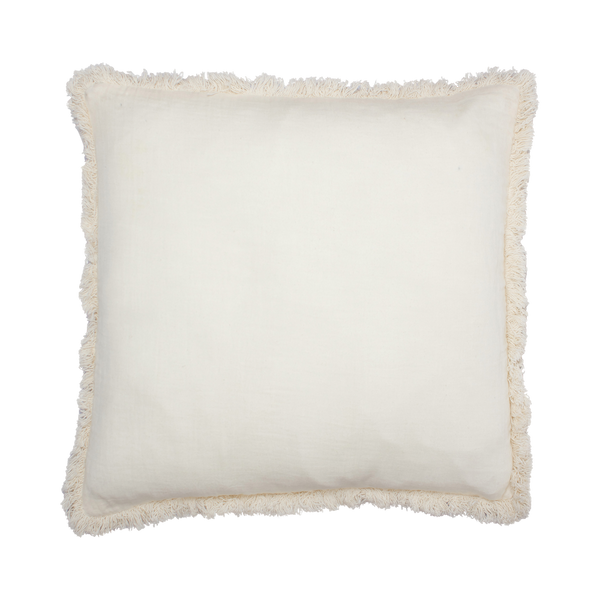 Cream Fringed Cushion