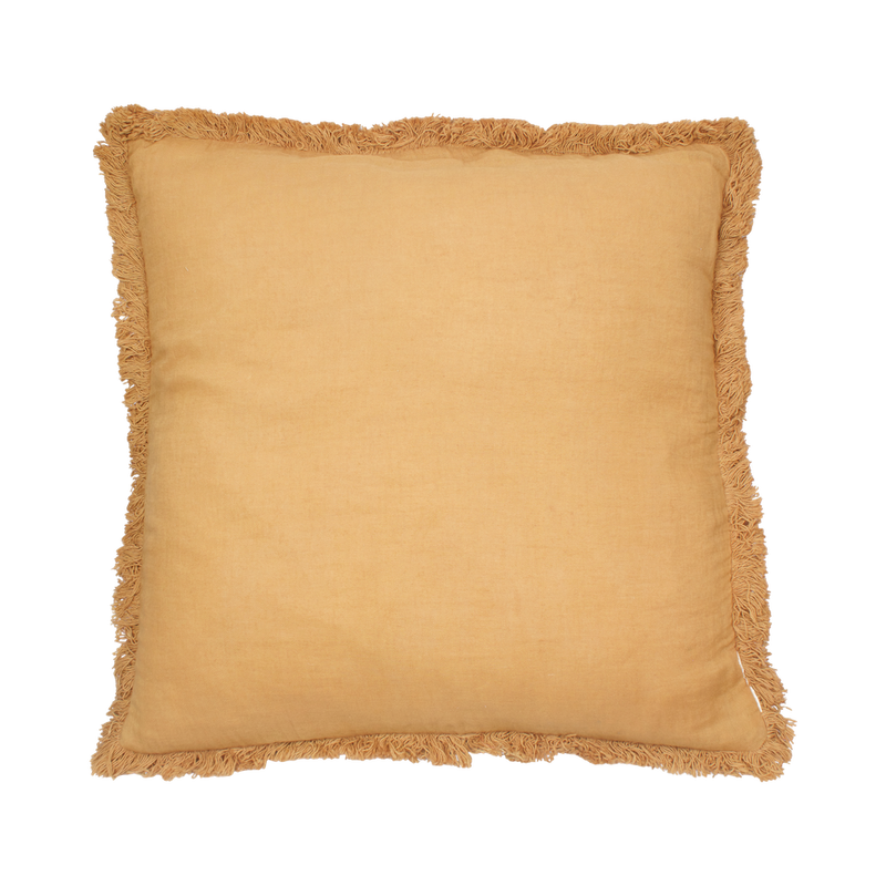 Mustard Fringed Cushion