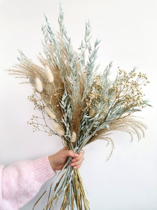 Light Blue and Ivory Dried flower Arrangement