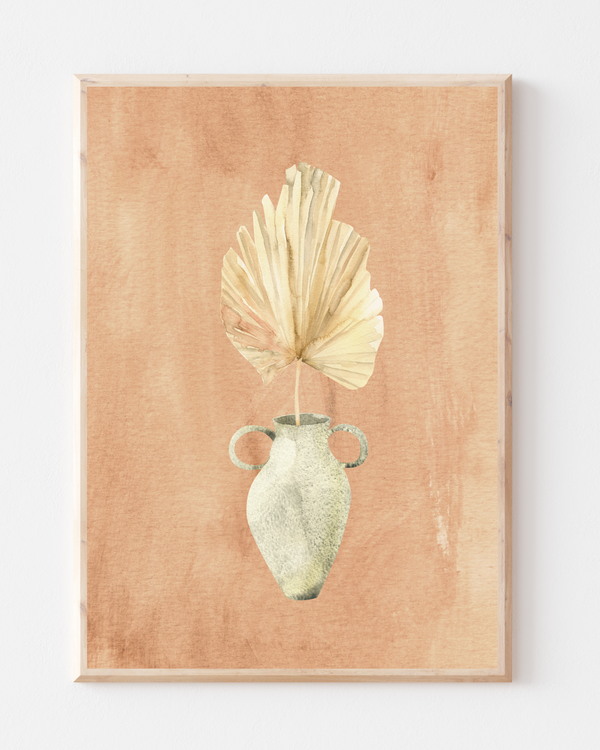 Bleached Palm Spear Wall Print | Terracotta