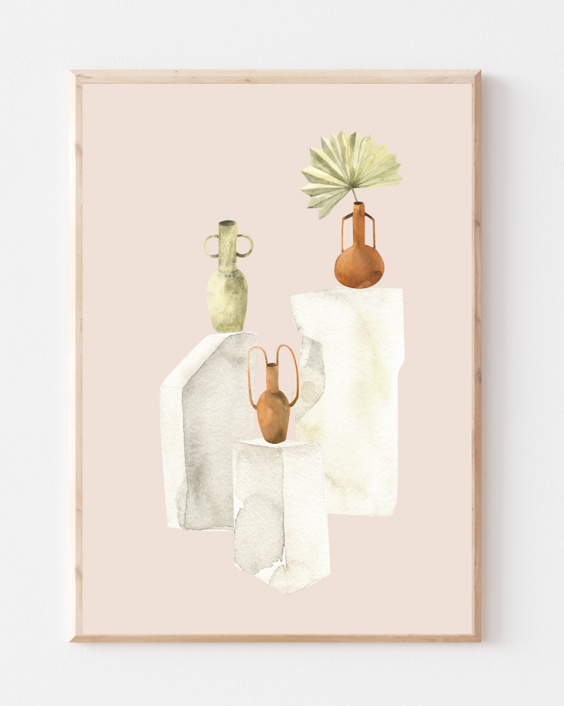 'Vases' Wall Print | Dried Flowers