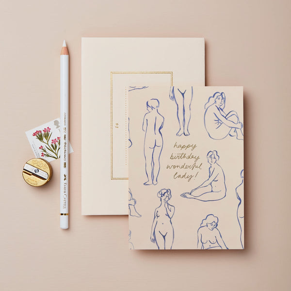 Wanderlust Blue Nudes 'Happy Birthday' Card