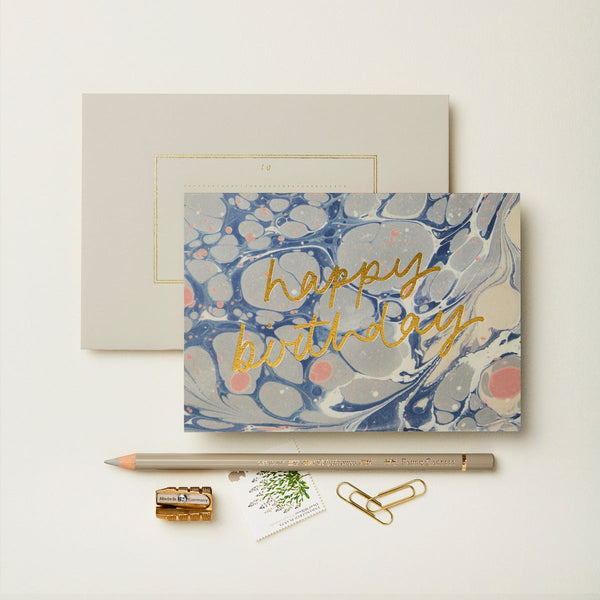 Wanderlust Marble' Happy Birthday' Card