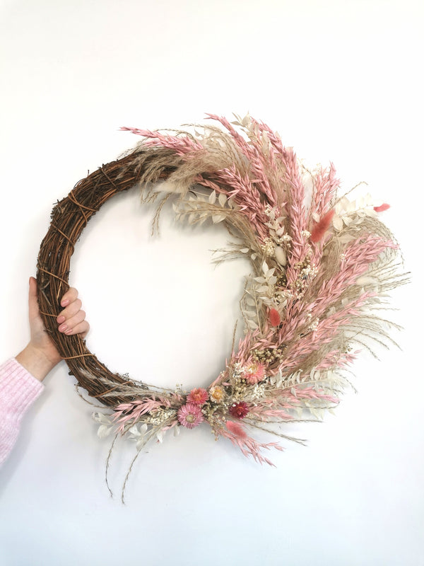 Blush pink oats and natural grass Dried Flower Wreath