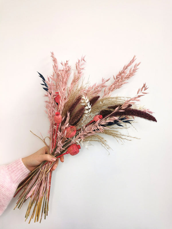 Misty Pink and Purple Dried Flower arrangement