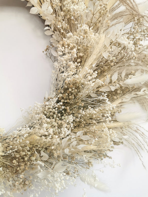 Large Ivory and Cream Dried Flower wreath | Gypsophilia & Bunny Tails | ONE OFF BESPOKE