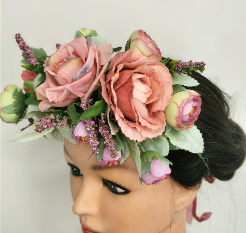 The 'Ava' Pink Rose Flower Crown