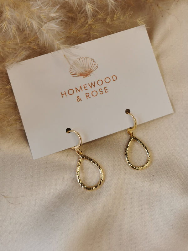 Hammered Teardrop - 14k Gold Plated Huggie earrings