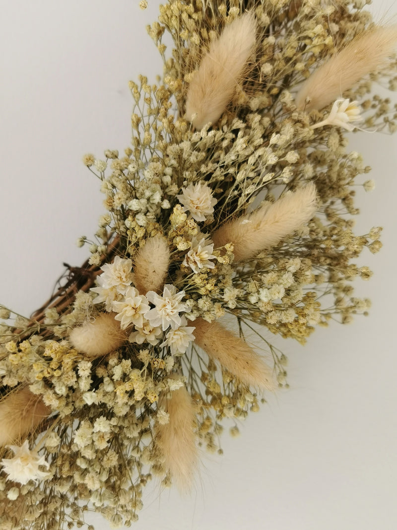 large spring Garden Dried Flower wreath | Gypsophila, Broom bloom & Bunny Tails
