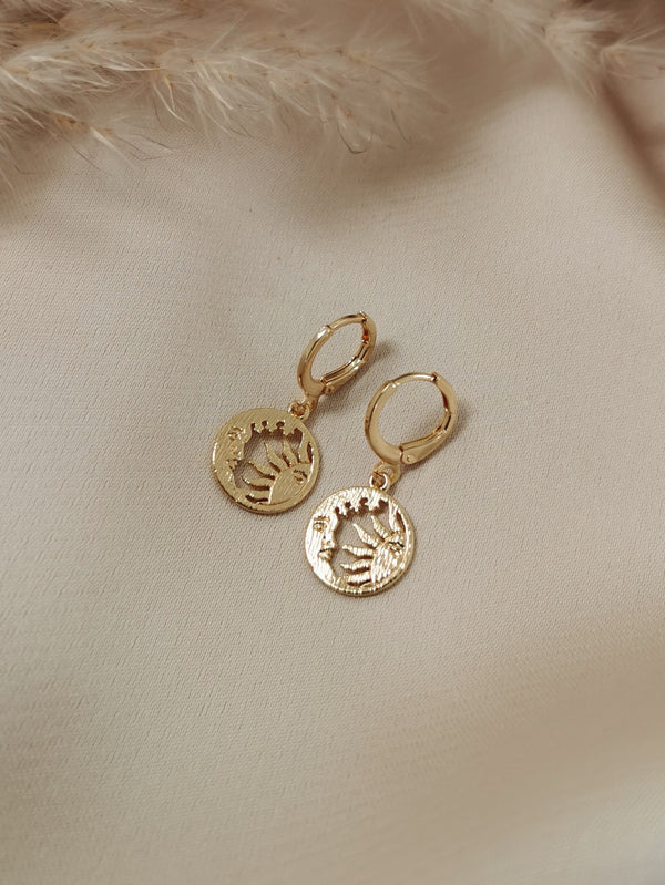 Moon & Sun - 14k Gold Plated Huggie earrings