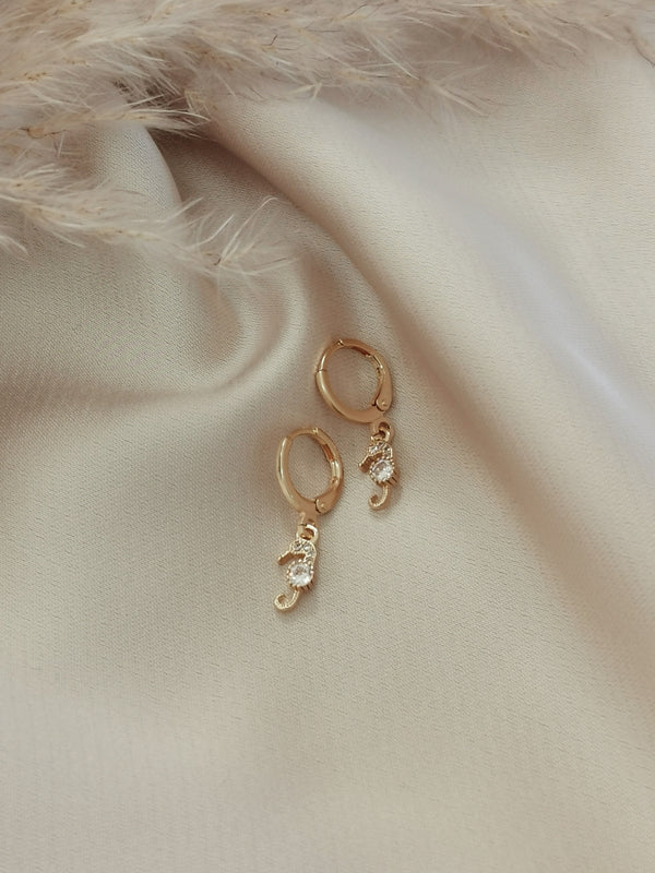 Mini Seahorses - 14k Gold Plated Huggie earrings