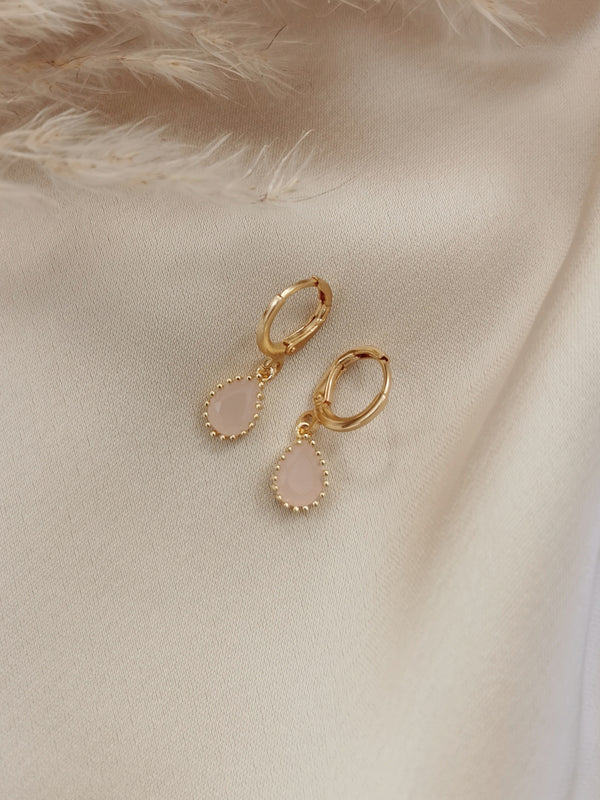 Rose Quartz - 14k Gold Plated Huggie earrings