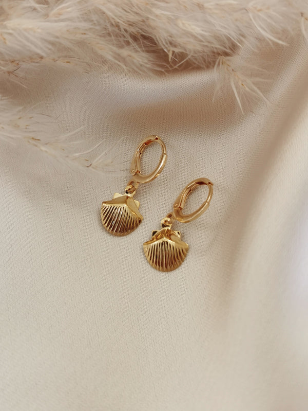 Clam Shell - 14k Gold Plated Huggie earrings